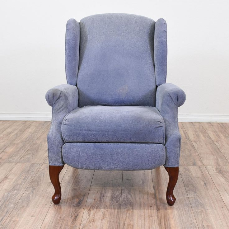 This Lane recliner is upholstered in a soft blue paisley pattern. This armchair features wings, a retractable recliner, and cabriole legs. Perfect in front of the television! #eclectic #chairs #armchair #sandiegovintage #vintagefurniture