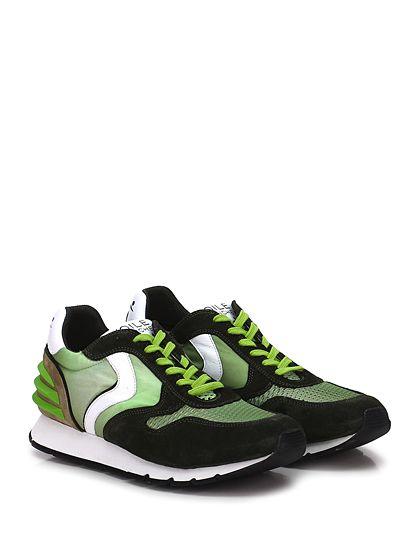 Voile Blanche - Sneakers - Uomo - Sneaker in camoscio e tessuto tecnico con retina con inserto in gomma su tallone. Suola in gomma, tacco 25, platform 15 con battuta 10. - VERDE\PISTACCHIO