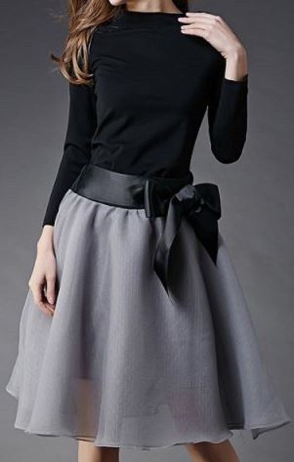Love Love Love this Outfit! Love Black +Grey! Love the Ribbon Bow! Vintage Slash Collar Long Sleeve Blouse + Bowknot Embellished Skirt