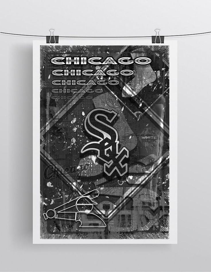 Chicago White Sox Poster, White Sox Artwork Sox Gift, Chicago White Sox Layered Man Cave Art