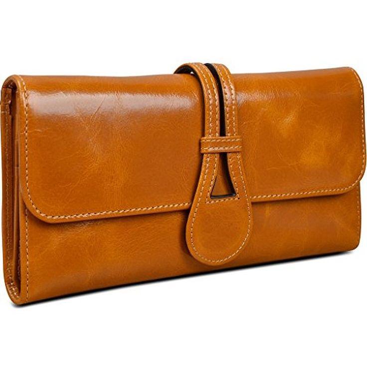 Yahoho Women's Waxy Genuine Leather Organizer Wallet Clutch Purse with Coin Zipper Pocket