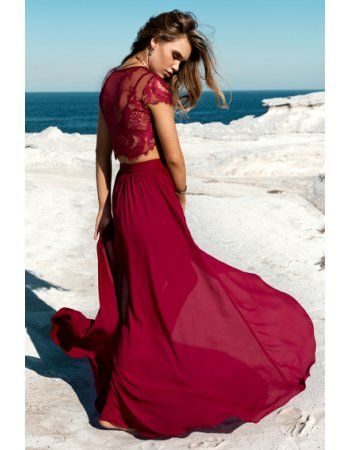 Two Piece Short Sleeve Long A-line Burgundy Chiffon Prom Dress with Split