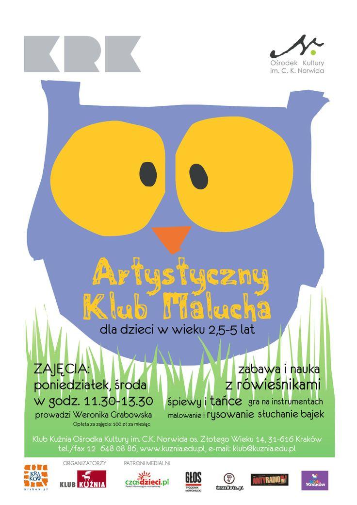 Na zajęcia w artystycznej świetlicy  zapraszamy do Klubu Kuźnia (os. Złotego Wieku 14) dzieci w wieku przedszkolnym od 2,5 do 5 lat. Poniedziałki i środy, godz. 11.30-13.30. Szczegóły na: http://www.kuznia.edu.pl/dla_malucha.html