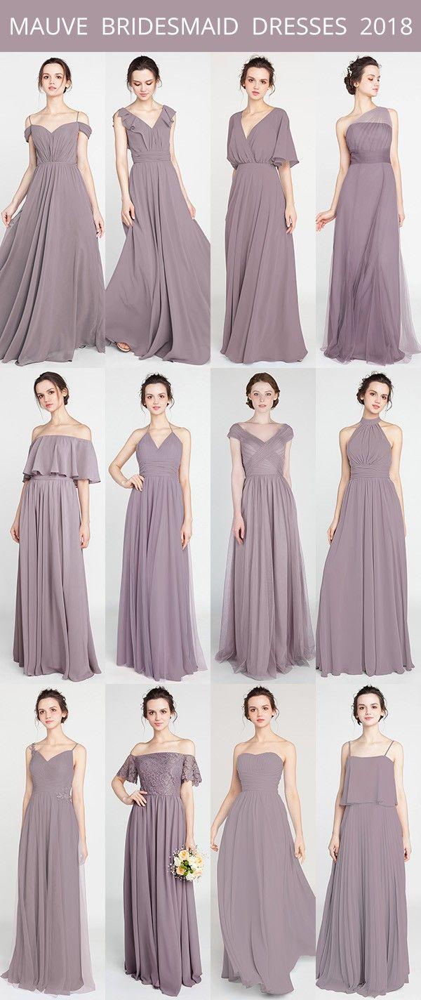 mauve bridesmaid dresses for 2018 trends #mauvewedding #bridalparty #bridesmaiddresses #weddingtrends
