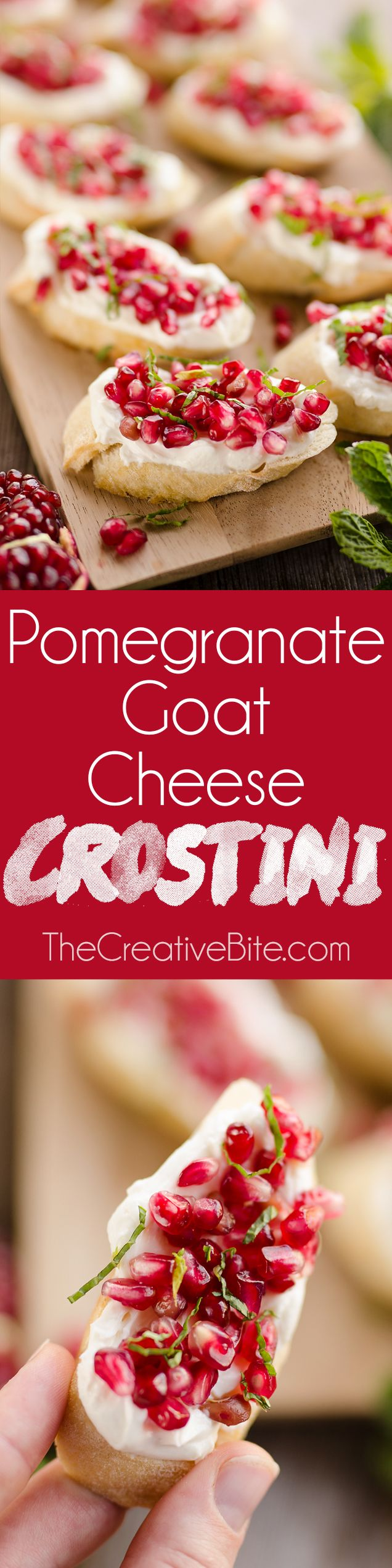 Pomegranate Goat Cheese Crostini are a beautiful and elegant appetizer perfect for an easy holiday party finger food with only 5 ingredients! #pomegranate #appetizer #holiday