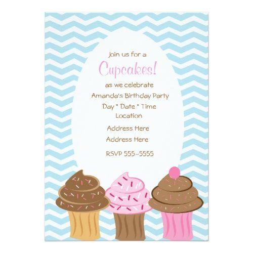 Blue Chevron Cupcake Lineup Card