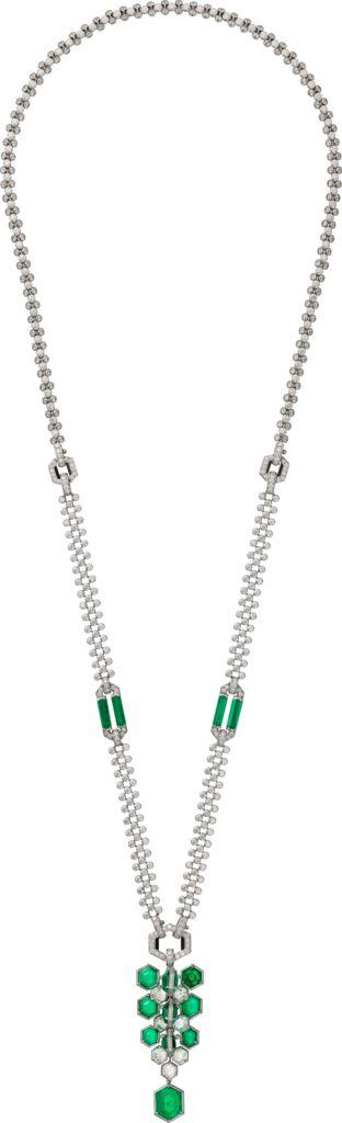 CARTIER. Sautoir/Collier/Bracelet - platine, dix émeraudes de Colombie hexagonales pour 24,64 carats, sept diamants hexagonaux pour 3,63 carats, quatre émeraudes brutes, onyx, diamants taille brillant. #Cartier #RésonancesDeCartier #2017 #HighJewellery #HauteJoaillerie #FineJewelry #Emerald #Diamond