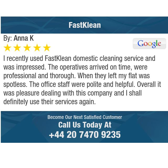 I recently used FastKlean domestic cleaning service and was impressed. The operatives...