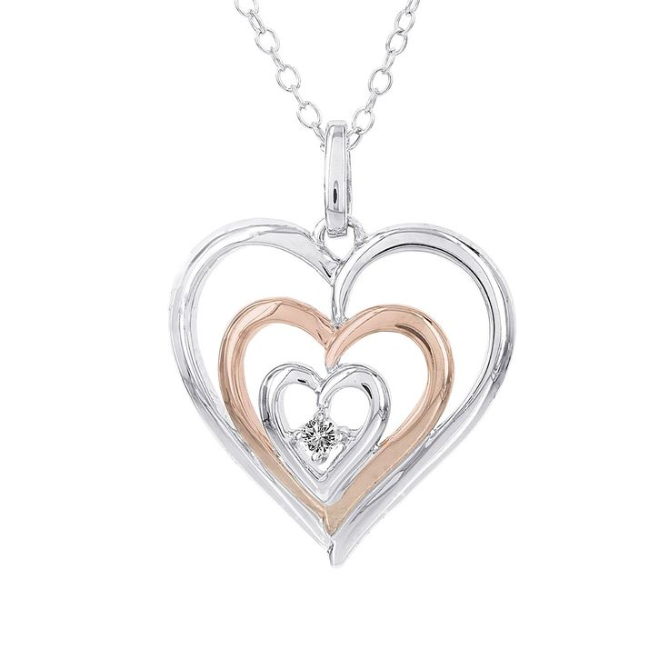 H Star Sterling Silver and Rose-plated Diamond Accent Triple Heart Necklace