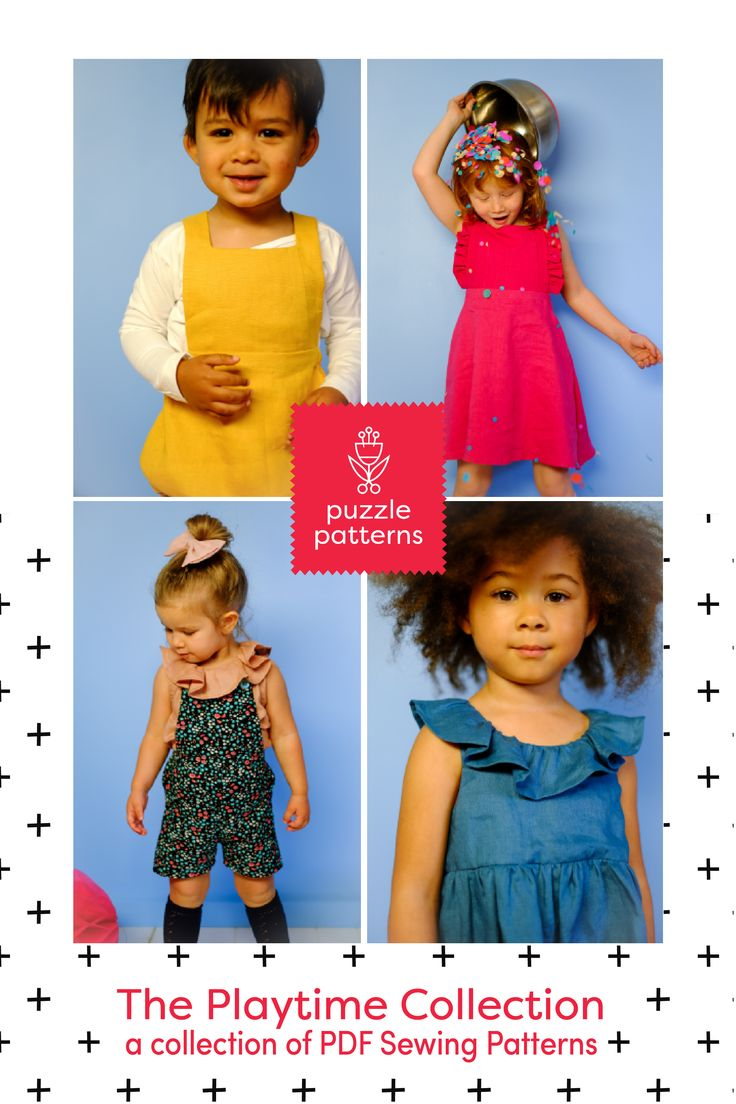PDF sewing pattern collection, unisex, girls, boys, capsule wardrobe, dress, harem, pants, ruffles, ruffled collar, romper, playsuit, pinafore, overalls, dungarees.