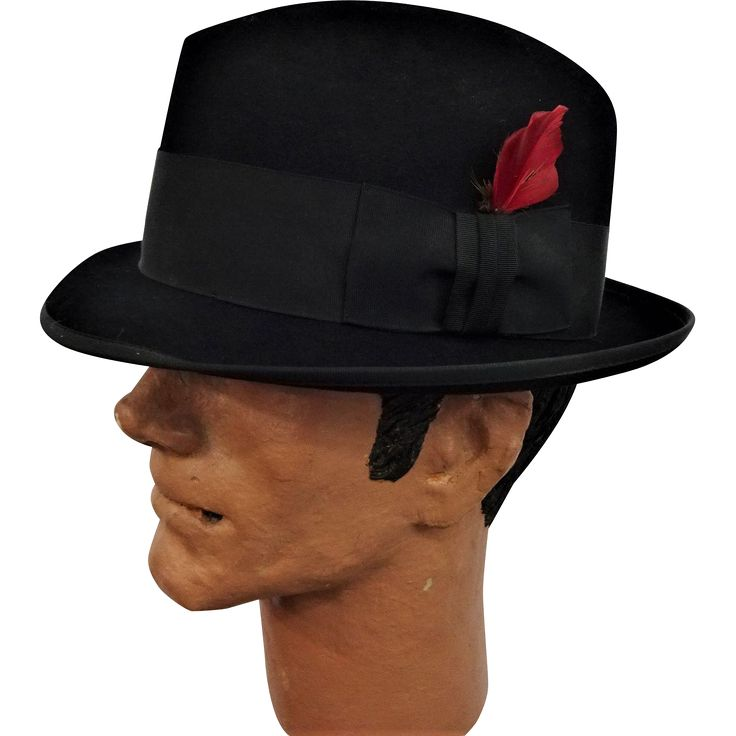 #VintageBeginsHere at www.rubylane.com---  Black Royal Stetson Fedora Hat Vintage 1950s Rat Pack Sinatra Wool Feather