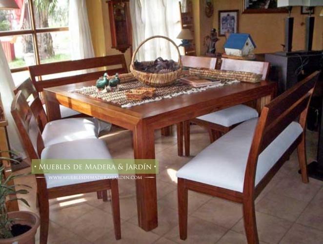 Mesas de comedor cuadrada con bancos y sillas mesas for Ofertas en mesas y sillas