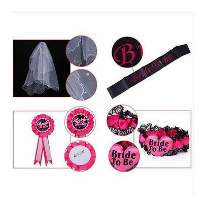 #Bride to be set #rosette badge,sash,garter,veil hen do night bachelorette #party,  View more on the LINK: 	http://www.zeppy.io/product/gb/2/221792261760/