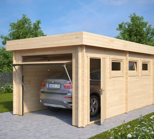 Modern Wooden Garage C With Up And Over Door / 44mm / 3 X 5,5 M