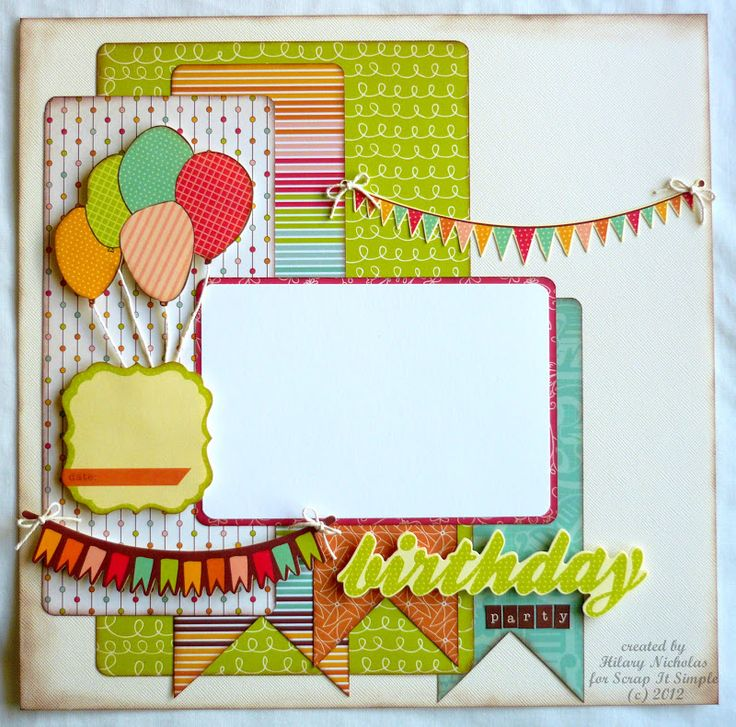 Birthday Scrapbook Layouts | Birthday Layout with Save the Date