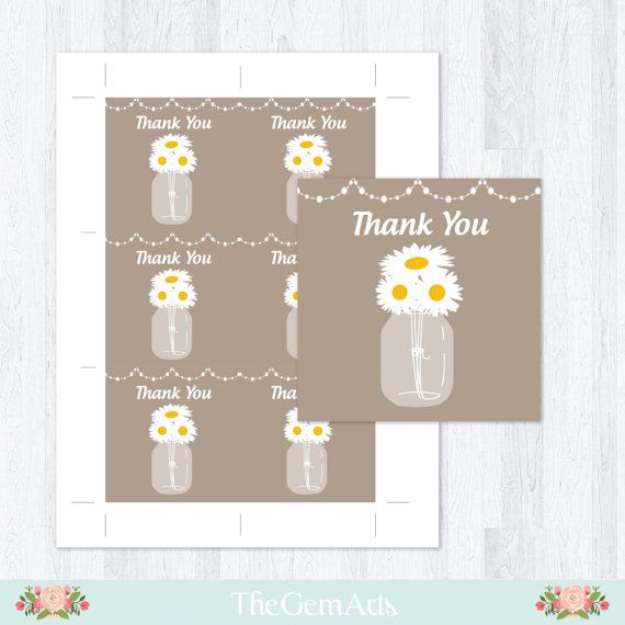 rustic daisy baby shower favor tagsbaby shower thank by TheGemArts