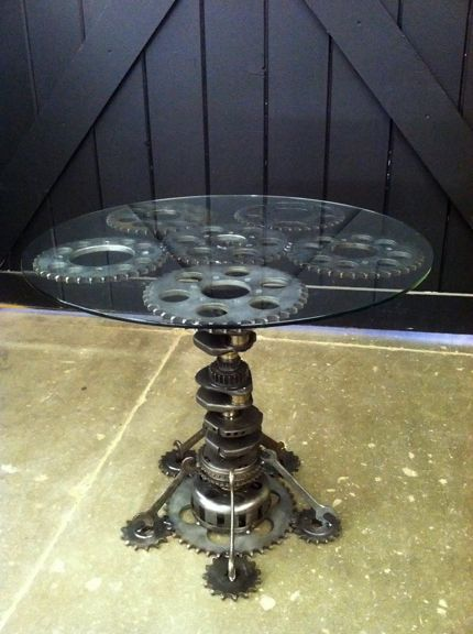 Engine crank & gears with glass top table