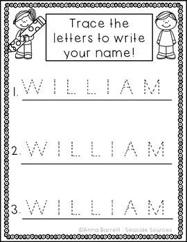 editable name tracing practice freebie all free lessons tpt