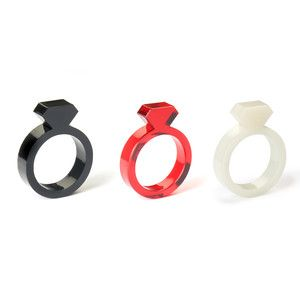Acrylic Diamond Ring Set Red, $23, now featured on Fab.