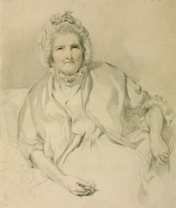 """""""Isabel Smith, Called Munia, Nurse to the Angerstein Family"""", c. 1800, by Sir Thomas Lawrence (English, 1769-1830). Inscribed on the back, 'This is a drawing of my Nurse Isabel Smith, called Munia, buried at Nh Willingham Lincolne. Wm Angerstein, drawn by Sr Thos Lawrence at Woodlands'. Lawrence became friendly with the Angerstein family in about 1790, when John Julius Angerstein took charge of his financial affairs. Woodlands was the family villa at Blackheath."""