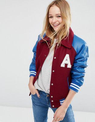 ASOS Wool Blend Varsity Bomber Jacket