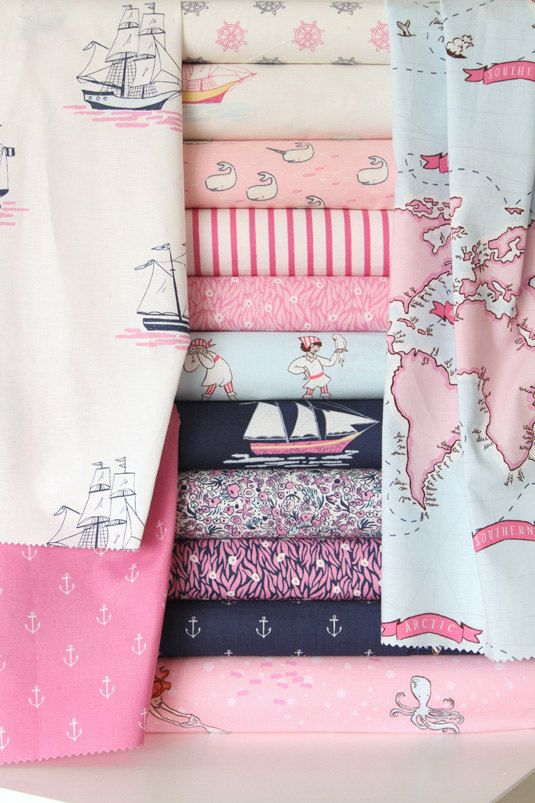 I love this fabric!!!! Custom Crib Bedding - Sarah Jane Out to Sea - Deep Sea Jewel - Navy Blue, Aqua and Pink. $238.00, via Etsy.