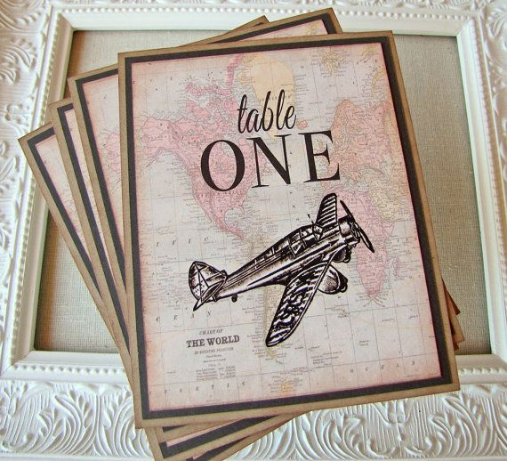 Vintage Airplane Wedding Reception Table Numbers Destination Weddings