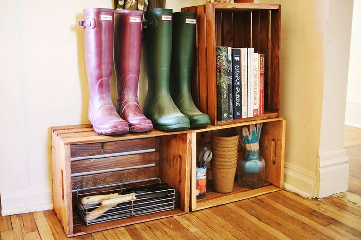 Crates as shelves in the mudroom: Great idea for a front hall. Can get cheap crates from Home Depot and stain!