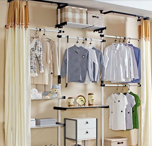 Curtain Idea, Band At Top. Hmmm Closet Organization Tips   Floor To Ceiling  Curtain For Open Closet   Click Pic For 36 DIY Closet Organizer Ideas