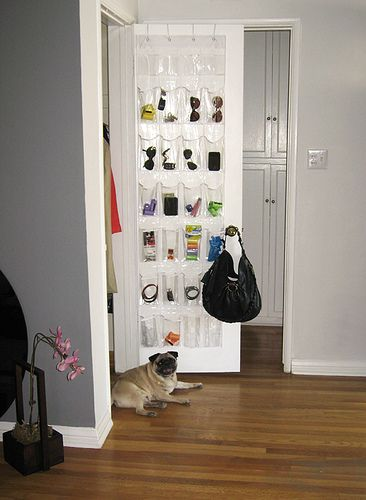 Plastic shoe holder for odds and ends inside a closet door