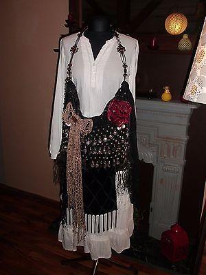 Handmade Black Vintage Silk Viscose Lace Boho Hippie Gypsy Handbag Purse
