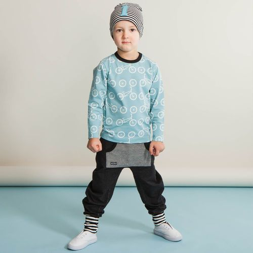 BMX pusero, aqua | Ihastuttava kevät & kesä 2016 mallisto nyt saatavilla NOSH vaatekutsuilta, edustajalta ja verkosta nosh.fi (This clothing collection is available only in Finland but you can shop these wonderful prints from our SS16 fabric collection at en.nosh.fi)