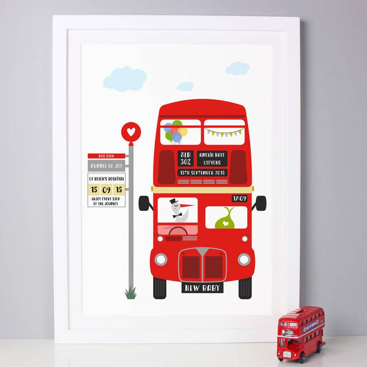 Personalised New Baby London Bus Print