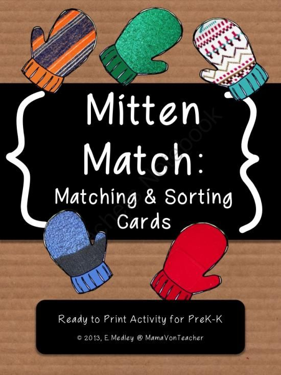 Mitten Themed Matching And Sorting Cards Early Math Skills Centers From Mamavonteacher On