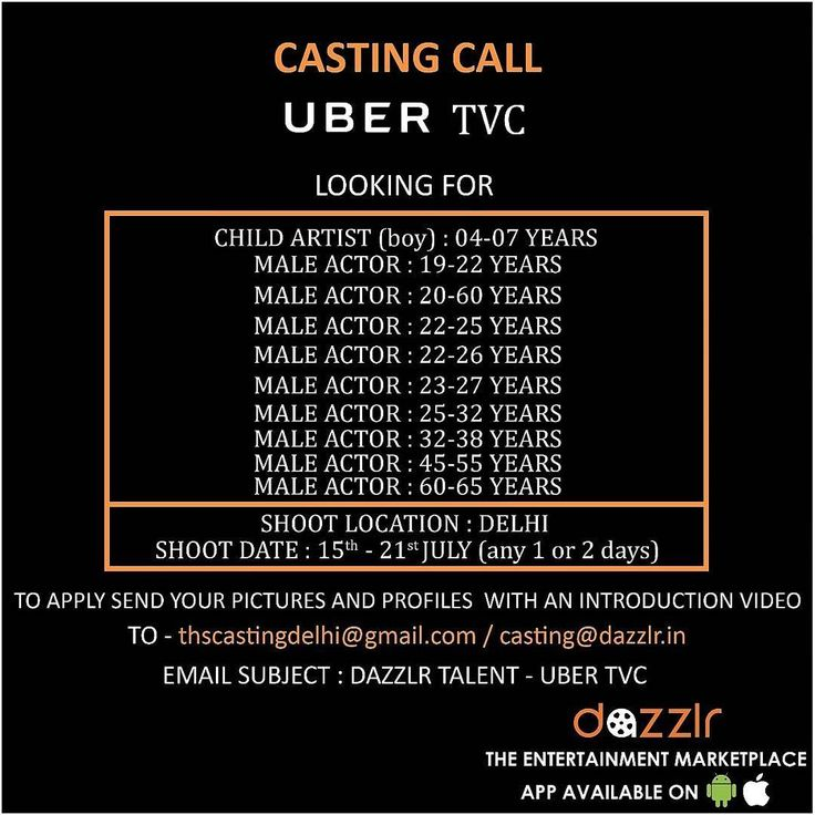 Casting Call!  Looking For Male Actors For Multiple Roles For @uber_india TVC.  Download the Dazzlr App to apply and browse through daily casting calls & updated talent database. (App link in Bio)  #DazzlrApp #Casting #CastingCall #Male #Child #Artist #Models #Brand #Uber #TVC #Television #App #Modeling  #CastingApp #Kids #Student #IPL #MBA #Actors #Acting #Delhi #Talent #ShootLife #FreshFace #Audition #Dazzlr #Shoot #Entertainment #Quikr #ApplyNow…