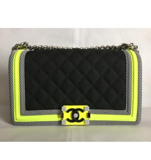 4f2e89860e1d Chanel Boy Medium with Contrast Piping Black Gray Neon Nylon Shoulder Bag -  Tradesy