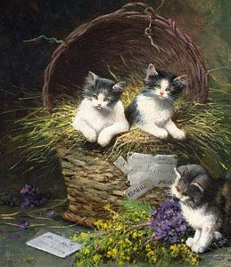 Cats Painting - Playtime by Leon Charles Huber