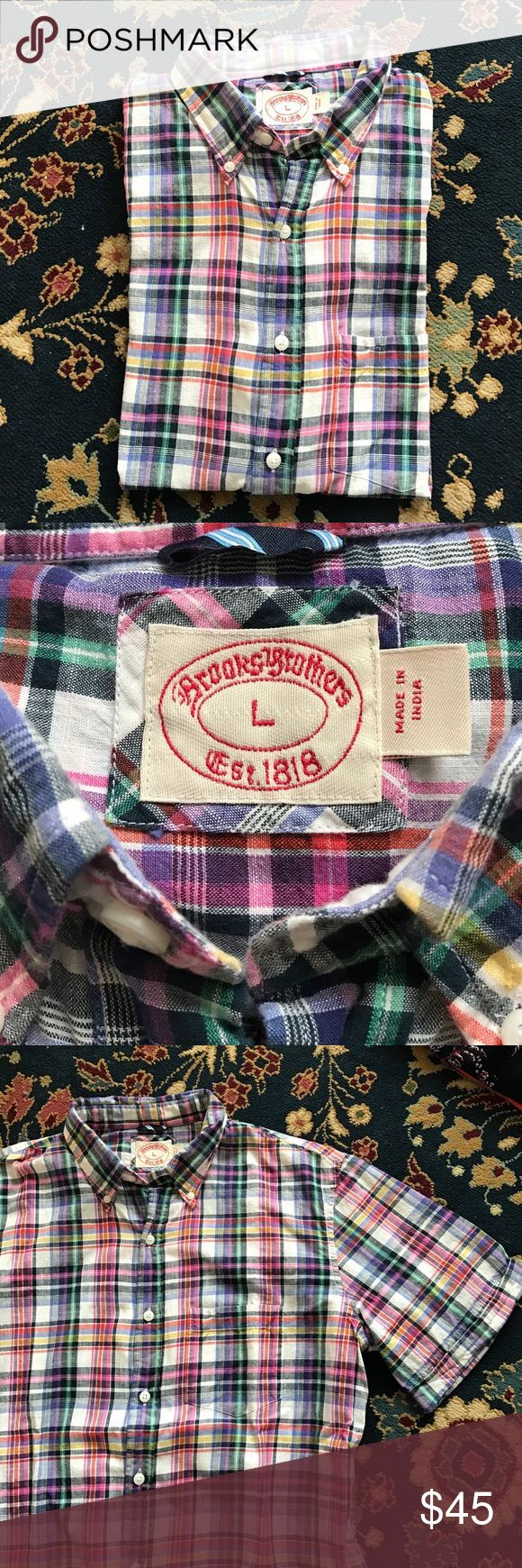"""Brooks Brothers Madras Shirt Short sleeve and a plaid you'll love! Classic madras with a rolled sleeve. In excellent condition. 22"""" underarm to underarm and 28.5"""" L Brooks Brothers Shirts Casual Button Down Shirts"""