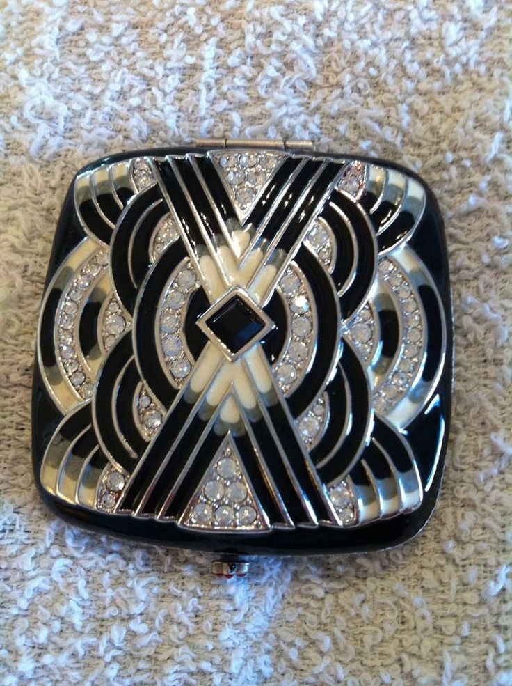 JAY STRONGWATER BLACK AND WHITE ART DECO COMPACT DOUBLE MIRROR