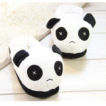 Women Men Lovers Cute Panda Warm Plush Indoor Home Slippers Shoes