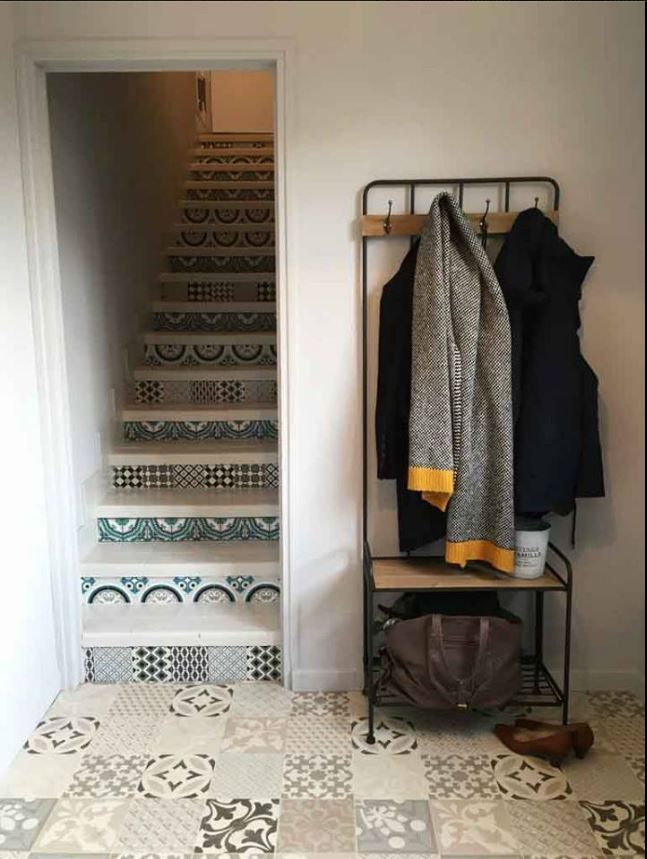 escalier faux carreaux de ciment sophie ferjani staircases escaliers pinterest ferjani. Black Bedroom Furniture Sets. Home Design Ideas
