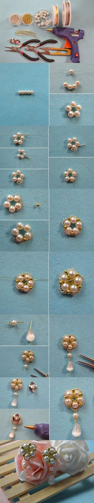 Tutorial on How to Make Earrings with Beads and Wires-A Pair of Flower Shaped Earrings for You from LC.Pandahall.com #pandahall | Pinterest by Jersica