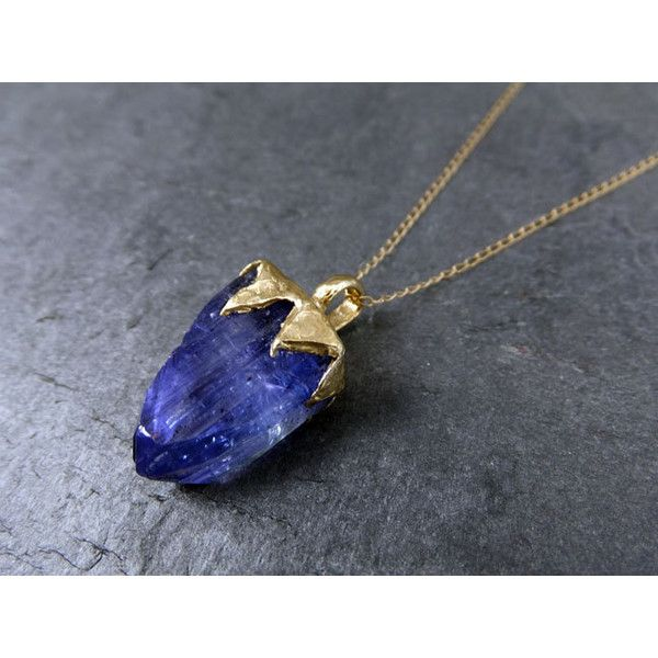 Raw Tanzanite Crystal Gold Pendant Rough Uncut Gemstone Necklace... (£1,307) ❤ liked on Polyvore featuring jewelry, necklaces, gemstone necklaces, crystal necklace, crystal pendant, 14 karat gold necklace and gemstone pendant necklace