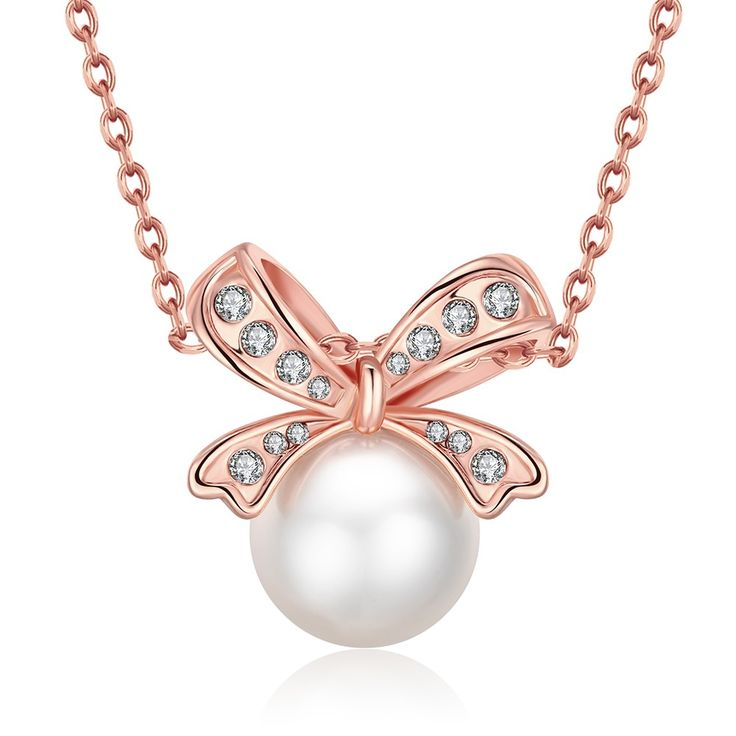 18-Karat Rose Gold Plated Bow Pearled Necklace with Swarovski Elements