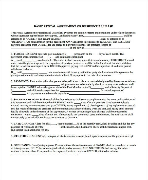 Apartment Rental Lease Form 8 Apartment Lease Agreement Samples Word Pdf Pages Lease Rental Lease Agreement