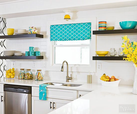 Replace a stained window covering with an inexpensive fabric treatment and see your kitchen in a whole new light.