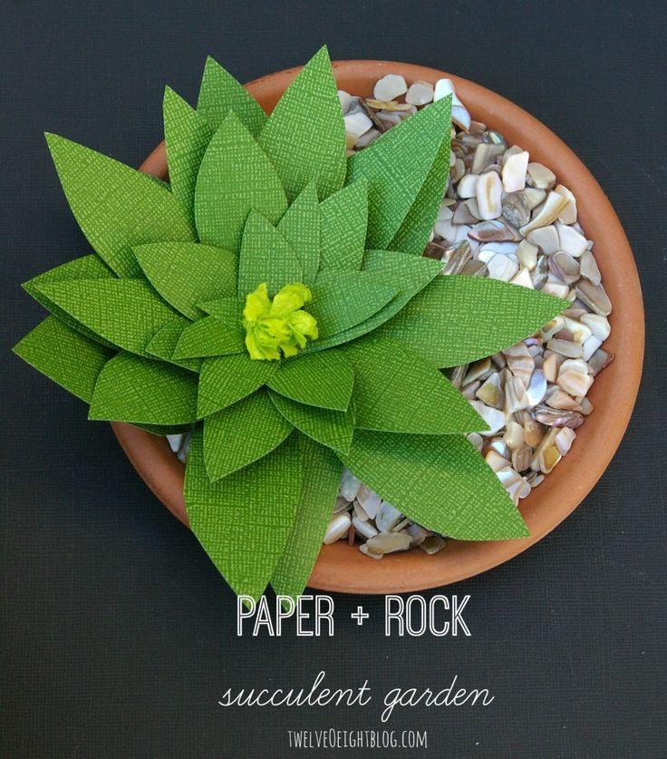 Paper & Rock Succulent Garden #succulent #diy #papersucculent #diyhomeideas #twelveOeightblog