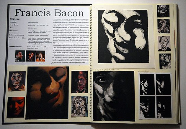 This A Level sketchbook page shows an artist study - formal analysis of the work of Francis Bacon alongside Lucy's own experimentation. Adobe Photoshop has been used to distort original photographs, before creating a monoprint of the image and overlaying other images printed onto acetate. Supporting artist works can be seen alongside, including those by Picasso, Käthe Kollwitz and Dustin Farnsworth.