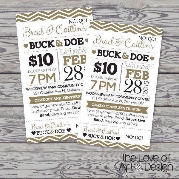 Printed Raffle Buck and Doe Tickets Jack by TheLoveOfArtNDesign