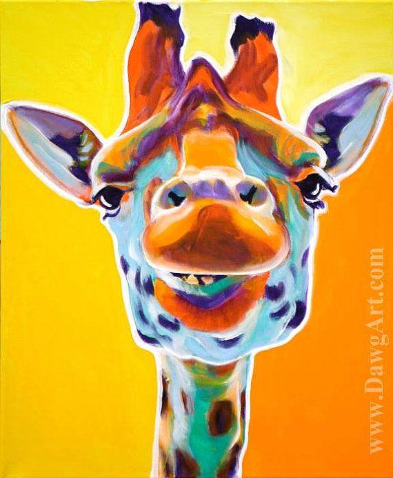 Rainbow Giraffe Animal Art Print DawgArt FREE by dawgpainter
